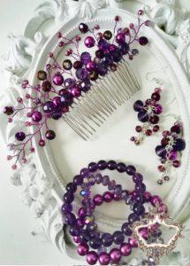 Кристален гребен украса за коса комплект с гривни и обици в тъмно лилаво Purple Dreams by Rosie