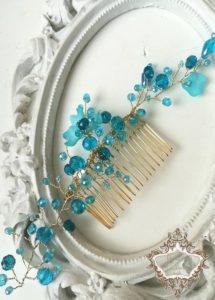 Гребен за коса с тюркоазени кристали - Turquoise Spell