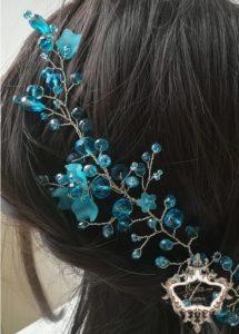 Дизайнерка кристална украса за коса с кристали тюркоаз Turquoise Magic by Rosie
