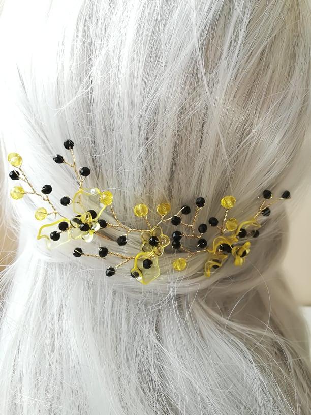 Дизайнерски фуркети за коса в черно и жълто