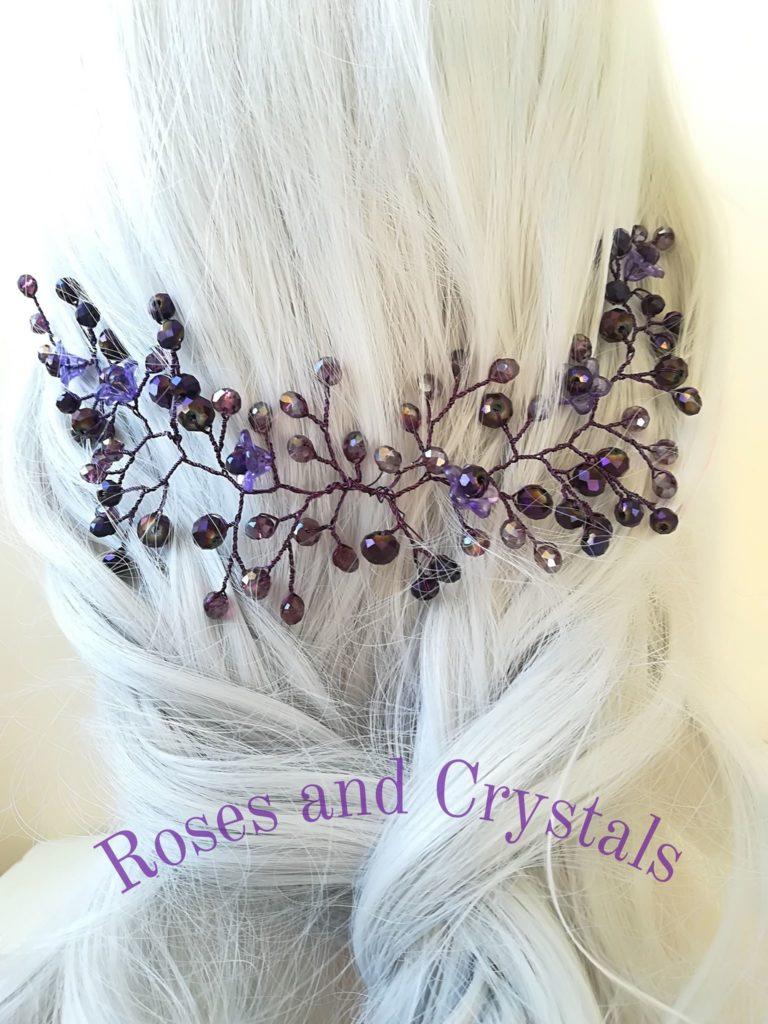 Дизайнерска украса за коса в лилаво - Forget me not