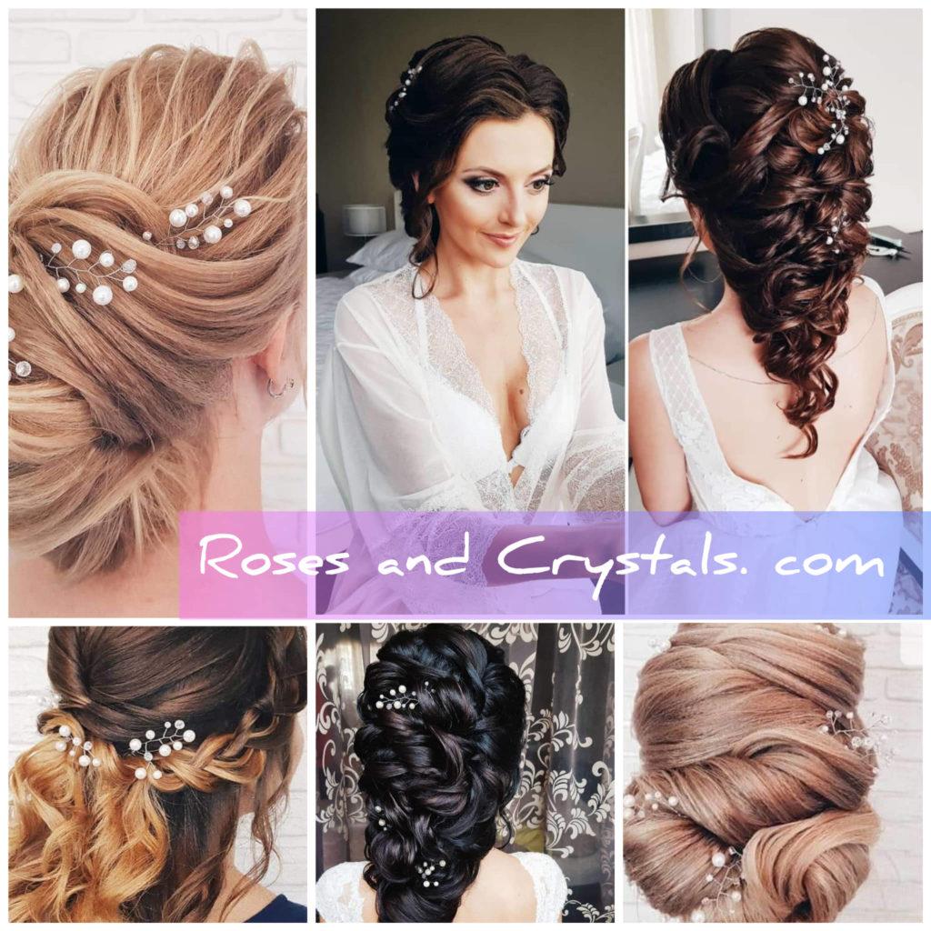 варианти за украса на сватбена прическа с фуркети от перли и кристали Сваровски - Roses and Crystals. com