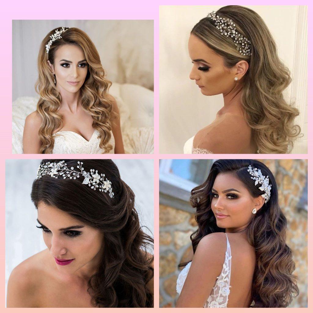 Прически с кристали гребени и украси за пусната дълга коса RosesandCrystals. com