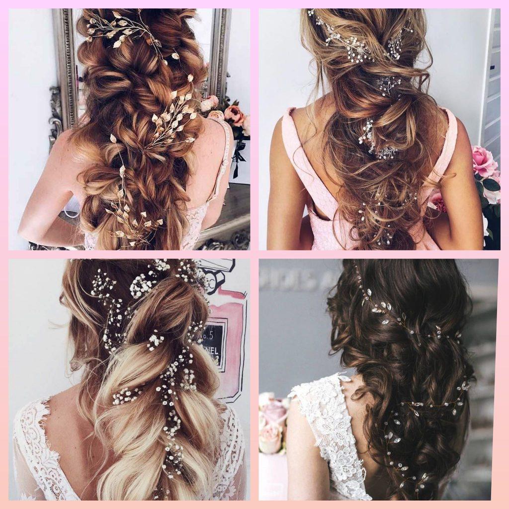 идеи за прическа за дълга коса за сватба и бал с фуркети RosesandCrystals.com